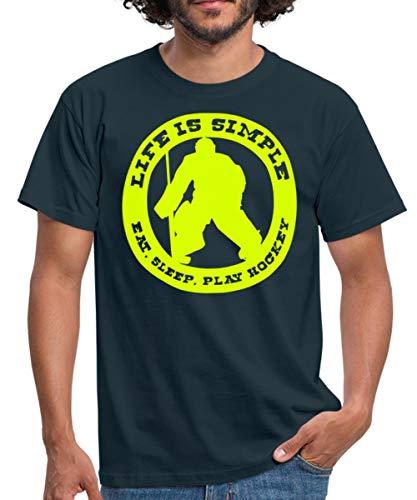 Hockey Eishockey Sprüche Männer T-Shirt, XXL, Navy