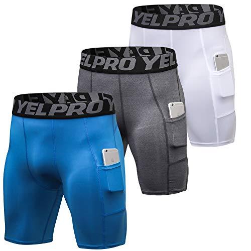 Shengwan 3 Piezas Pantalones Cortos de Compresión Hombre Térmicos Correr Gimnasio Mallas Cortos con Bolsillo