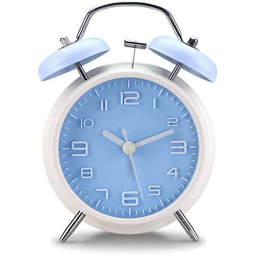 Qyvuor 5 Pulgadas sin Escala Cama clásica de la Vendimia/Reloj de Alarma analógico con retroiluminación, Reloj de Viaje de batería, Circular y Ruidoso Reloj de Alarma de Doble Campana Azul Blanco