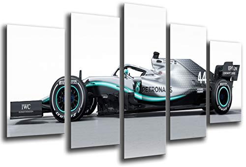 Cuadro Moderno Fotografico Coche Formula 1, Mercedes F1 W10, Mercedes F1 2019, Lewis Hamilton, Valtteri Bottas, 165 x 62 cm, Ref. 27296