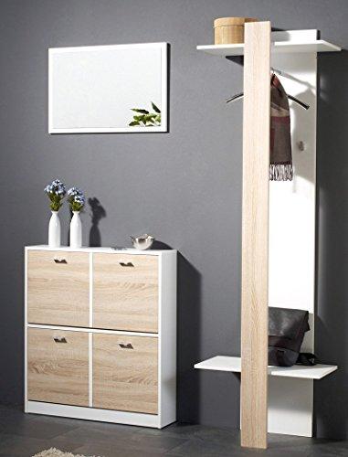 expendio Garderoben Set Bardo 3-teilig weiß Eiche Sonoma Paneel Schuhschrank Spiegel Garderobe