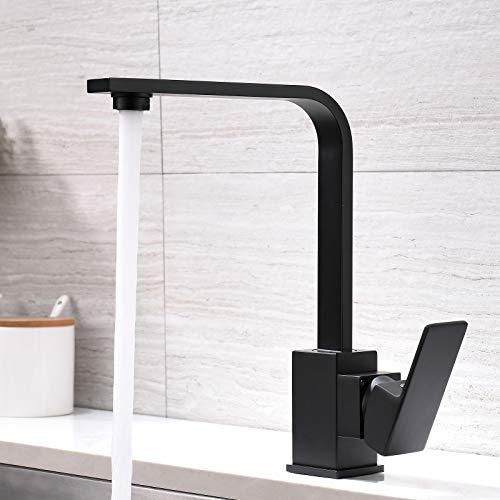 AIMADI Rubinetto da cucina con miscelatore girevole a 360°, colore: nero