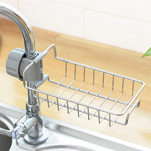 ZYYXB - Estante de baño para grifo de cocina, soporte de esponja de acero inoxidable para fregadero organizador de almacenamiento de jabón para baño