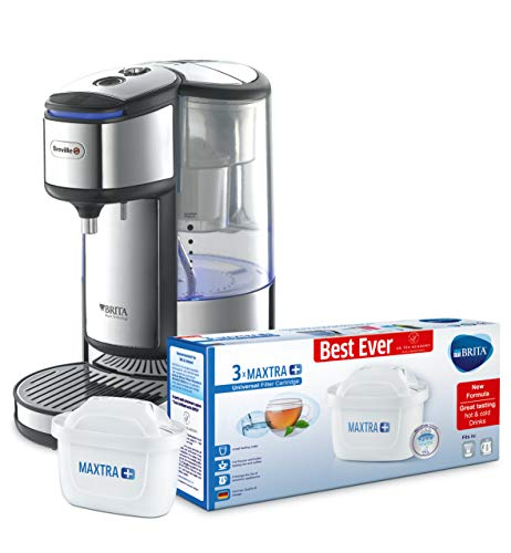 Breville BRITA HotCup Hot Water Dispenser with Integrated Water Filter,1.8 Litre, Stainless Steel [VKJ367] with Brita MAXTRA 3 pack water filters