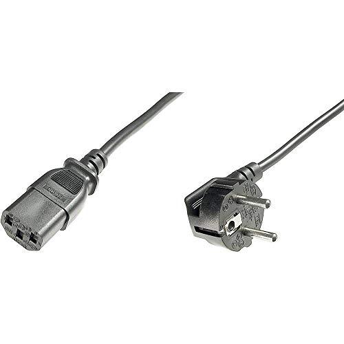 ASSMANN Netzanschluss-, Kaltgerätekabel, DE Version, CEE 7/7 (Typ-F) 90° auf C13, Stecker/Buchse, H05VV-F3G, 0.75 mm², Länge 0.75 m