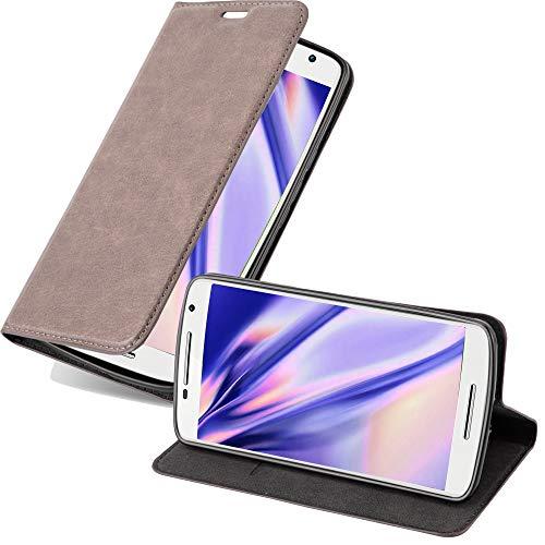 Cadorabo Hülle für Motorola Moto X Play in Kaffee BRAUN - Handyhülle mit Magnetverschluss, Standfunktion & Kartenfach - Hülle Cover Schutzhülle Etui Tasche Book Klapp Style