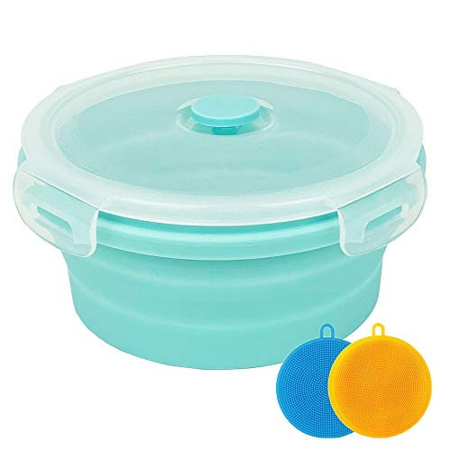 Collapsible Bowl Silicone Collapsible Container Food Storage Containers Collapsible Camping Bowl for Travel Camping Hiking with Airtight Plastic Lids and 2Pack Silicone Dish Sponges- Blue, 1200ml