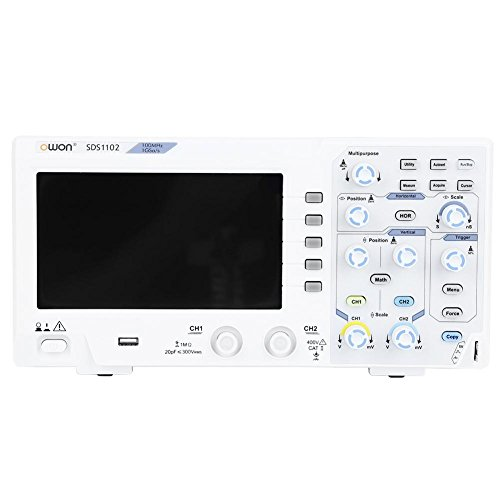 OWON SDS1102 Digital Oscilloscope 8 Bits, 2 Channel, 100MHz Bandwidth, 1GS/s Sample Rate, 7Pollici Colori LCD, Horizontal Scale (s/div): 2ns/div - 1000s/div, Step by 1-2 - 5