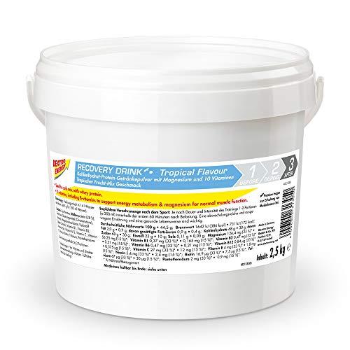 Dextro Energy Recovery Drink | 2500g Getränkepulver Tropical Geschmack | Proteinreiches After Sports Getränkepulver mit Kohlenhydraten