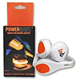 4ID | Power Spurz | Ultra Bright LED Wearable Shoe Safety Light | 2 Light Settings | Pack of 2 (Orange)
