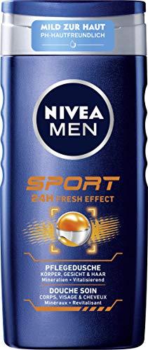 NIVEA MEN Sport Pflegedusche (250 ml), vitalisierendes Duschgel mit maskulinem Limonen-Duft, pH-hautfreundliche Dusche für Körper, Gesicht und Haar