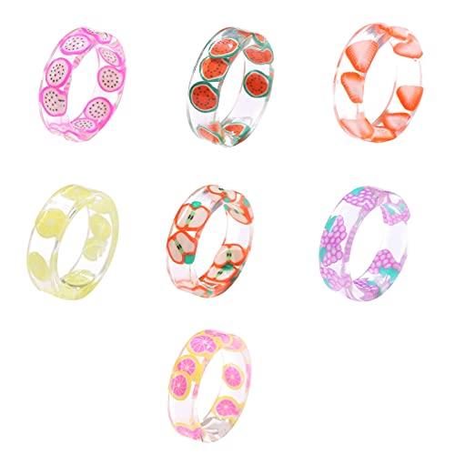 XPT 7 anillos coloridos de la muchacha de la moda atractivos cómodos anillos de resina de limón para los regalos de cumpleaños de Navidad 7pcs