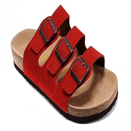 COQUI Chanclas Mujer,Sandalias de Verano Zapatos de Madera Blanda Plana Zapatos de Playa para Hombres de Tres hileras Moda Casual sintonización en frío Zapatos de Mujer-Rojizo_39