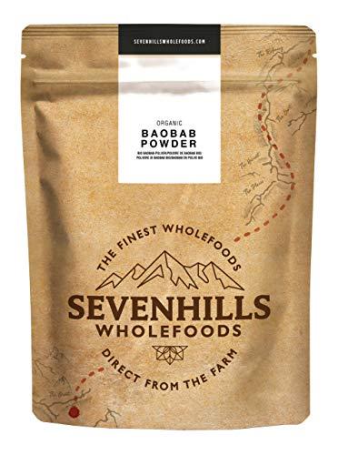 Sevenhills Wholefoods Bio Rauw Baobabpoeder, wild geoogst in Afrika, 1kg