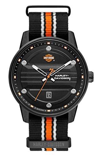 Harley-Davidson Men's Black Dial B&S Logo Watch w/Striped NATO Strap 78B153