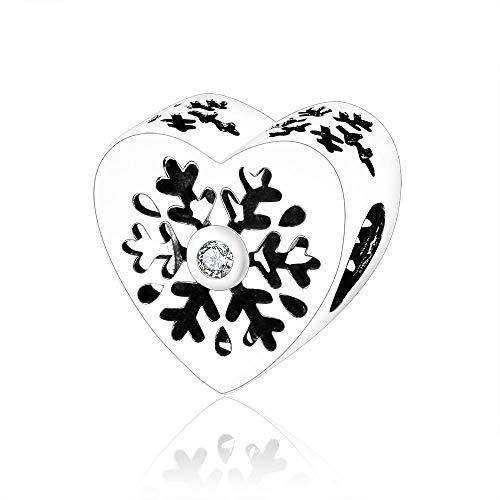GZZGHD 925 Sterling Silber Perle Schneeflocke Herzen Charme Fit Original Charms Armbänder Armreifen Für Frauen DIY Schmuck