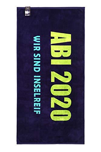 jilda-tex Abistrandtuch 90x180 cm Abihandtuch Strandtuch Strandtuch Abi 2020 Abitur (Wir sind inselreif blau)