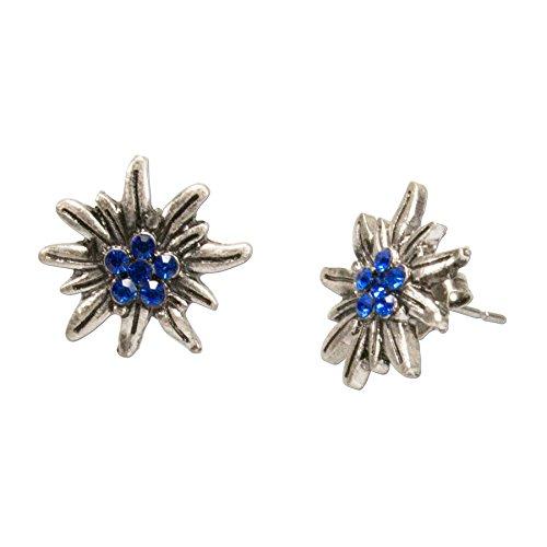 Alpenflüstern Trachten-Ohrstecker Strass-Edelweiß mini - Damen-Trachtenschmuck, Trachten-Ohrringe antik-silber-farben mit Strass-Steinen blau DOR033