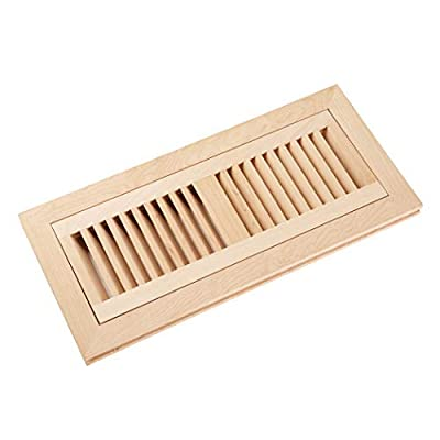 Homewell Wood Floor Register Vent Cover, Flush Mount with Frame, 4x12 Inch, Unfinished