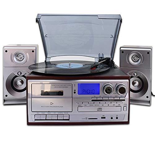 ジュエリー-Gramophoneレトロビニールレコードの複合機近代ホームリビングルームヨーロピアンスタイルのBluetoothステレオCDラジオカセットプレーヤー 見事な
