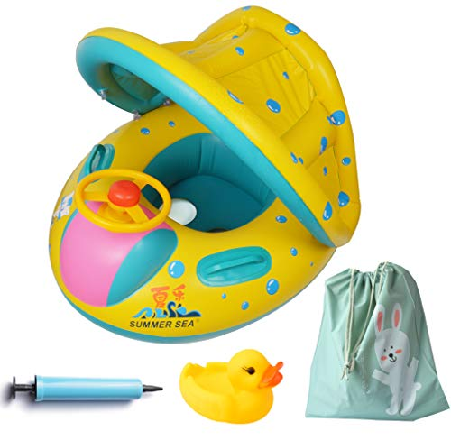 Inflatable Baby FloatPool Swimming Ring with Sun Canopy with Inflator PumpWaterproof Carry Bag