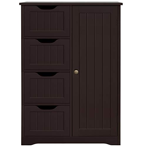 Topeakmart Wood Free-Standing Cabinet Bathroom Storage Floor Cabinet Unit Hallway Table with 4 Drawers and Adjustable Shelves Cupboard for Bathroom/Kitchen/Entrway, 22.05 x 11.81 x 32.28 in, Espresso