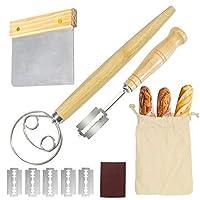 デンマーク生地泡立て器 パンラム 生地スクレーパー リネンバッグセット ステンレススチール パンのスコアリングツール 職人の自家製パンに
