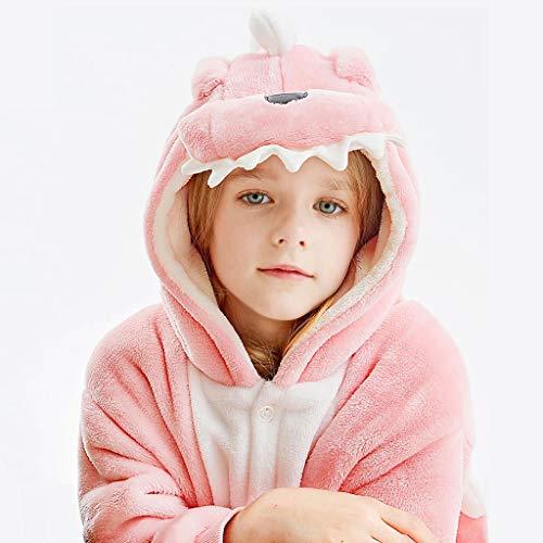 NYKK Disfraces para niños Body de Pijamas for niños, Disfraz de Animal Unisex de otoño Invierno de la Franela con Capucha Mameluco del Mono, Rosa Pijamas de Animales para niños