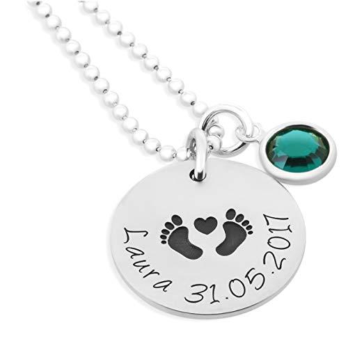 Namenskette zur Geburt 925 Silber ❤️ Geschenk Schmuck zur Geburt Babyfüße Kette mit Namen ❤️ Namensketten Mama Halskette Mütter Silberschmuck Gravur | HANDMADE IN GERMANY