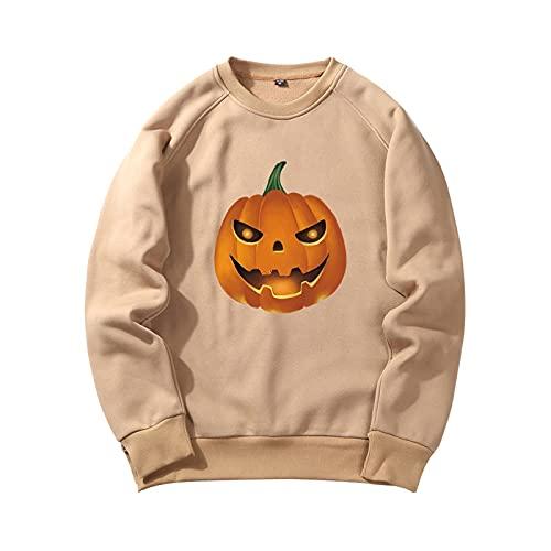 YingeFun Mens Graphics Hoodies Halloween Fleece Pullover Novelty Sport Sweatshirt Teen Plain Simple Tops Fall & Winter Khaki