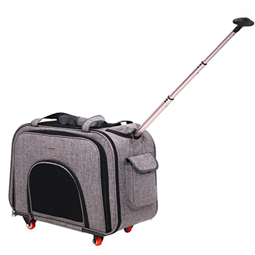 Hundetrolley Rucksack,,Portable Hundetrolley Transport für Hunde Folding Extensible Transportbox , Gray