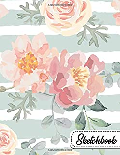 Sketchbook: Cute Blank Sketchbook with Crisp White Pages for Drawing, Sketching, Doodling and More. Cute Extra Large XL Notebook For Girls, Teens and Women - Pretty Cartoon Roses Print