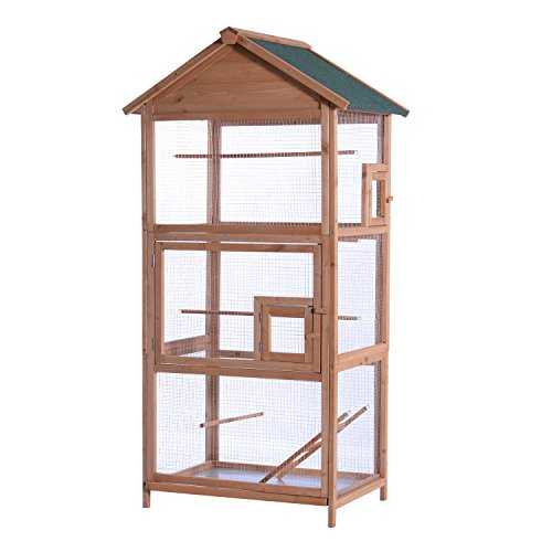 MCombo 70 inch Outdoor Aviary Bird Cage Wooden Vertical Play House Pet Parrot Cages with Stand 0011