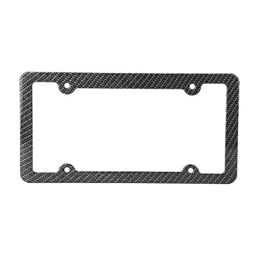 Akozon Newest 2 Pcs 4 Holes Stainless Steel Black License Plate Frame,Car Licenses Plate Covers Holders Frames for Plates with Screw Caps