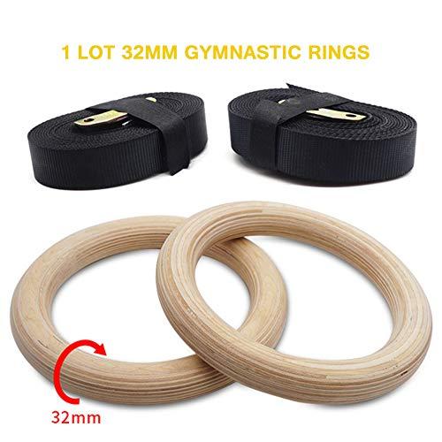 FDYD Holz Turnringe Olympic Gym Ringe W/Straps Fitnessgeräte Für Heimfitnesstraining Workout Fitness Klimmzüge Und Dips,1 Lot 32mm
