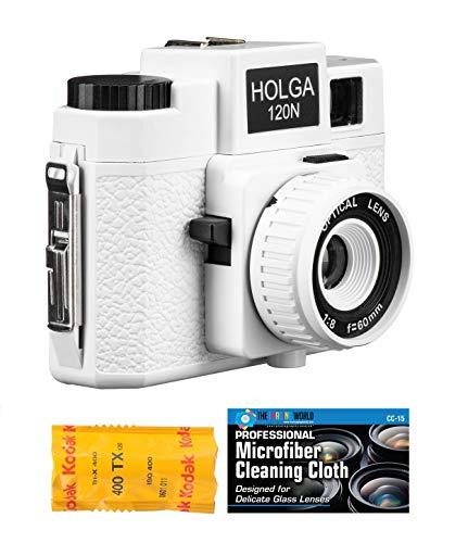 Holga 120N Medium Format Film Camera (White) with Kodak TX 120 Film Bundle and Microfiber Cloth