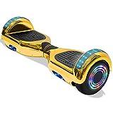 Electric Hoverboard Smart Self Balancing Scooter Hover Board 6.5'' Wheel Electric Scooter for Adults and Kids (Shiny-Gold)