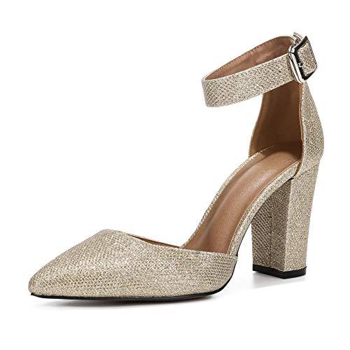 LIURUIJIA D'Orsay Zapatos De Vestir, Tacón Alto Y Grueso, Puntiaguda, con Correa para El Tobillo Ajustable, para Mujer.