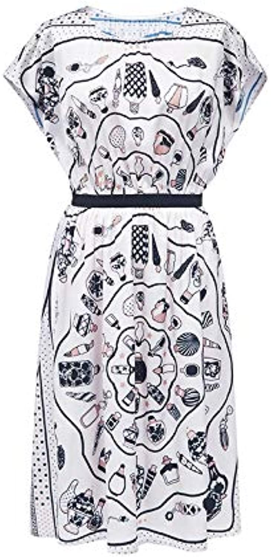 Woman Dress Women's Summer Print Long Skirt Round Neck ShortSleeved Dress Female
