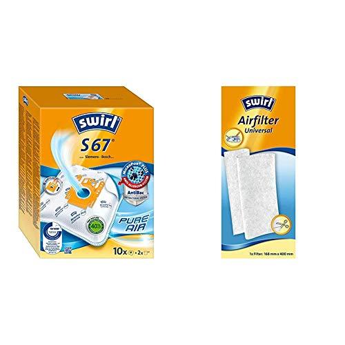Swirl S 67 MicroPor Plus Staubsaugerbeutel für Siemens und Bosch Staubsauger, Anti-Allergen-Filter, Dauerhaft hohe Saugleistung + Airfilter Universal (für Staubsauger, Zuschneidbarer Filter)