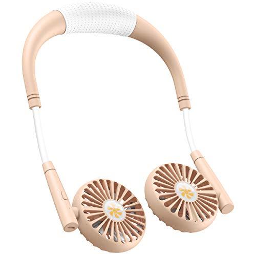 XIMU Nackenbügel Ventilator, Mini USB Tragbarer Ventilator Wiederaufladbar, USB Fan mit 360 ° Verstellbarer Kopf 3 Geschwindigkeit Wasserdicht für Büro, Zuhause und im Freien (Rosa & Weiß)