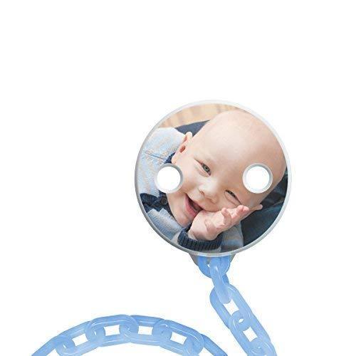 NUK Foto-Schnullerkette zum selbst Gestalten, praktisches Clip-System für leichteres Öffnen und Schließen, BPA frei (blau), myNUK1025PC