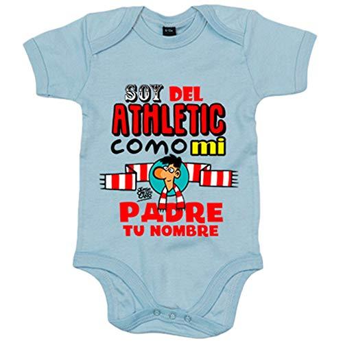 Body bebé soy del Athletic de Bilbao como mi padre personalizable con nombre - Celeste, 12-18 meses