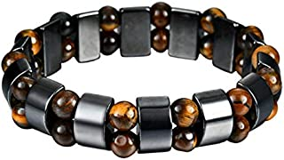 FOKLC Bracelet 1Pc Round Black Stone Magnetic Therapy Bracelet Health Care Magnetic Hematite Stretch Bracelet For Men Women