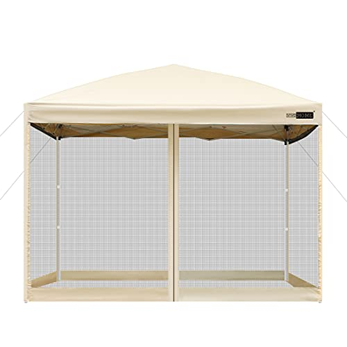 VIVOHOME 210D Oxford Outdoor Easy Pop Up Canopy Screen Party Tent with Mesh Side Walls Beige 10 x 10 Feet