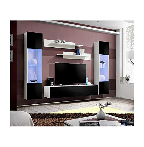 ASM Banc TV avec LED - 5 éléments - Noir et Blanc