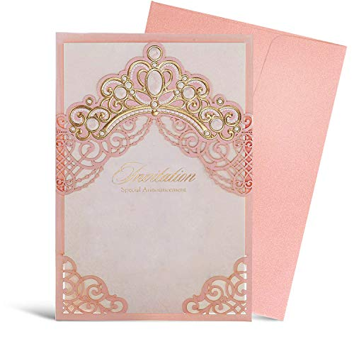 WISHMADE Royal Pink Laser Cut Wedding Invitations Cards with Embossed Crown Design for Quinceanera Birthday Wedding Invites with Envelope, Princess Dream, 50pcs
