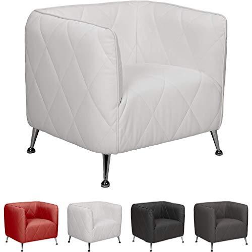 Mivano Lounge-Sessel Tabac, Eleganter Sessel in Lederoptik mit Steppung, 74 x 68 x 68, Kunstleder, weiß