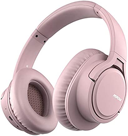 Mpow H7 Bluetooth Headphones Over Ear, 18 Hrs Comfortable Wireless Headphones w/Bag, Rechargeable HiFi Stereo Headset, CVC6.0 Headphones with Microphone for Cellphone Tablet (Rose Gold)
