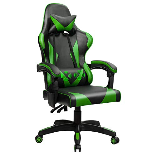 Goplus Massage Gaming Chair, Reclining Backrest, Seat Height Adjustment Racing Computer Office Chair, Ergonomic High Back Swivel PC Game Chair with Headrest and Lumbar Cushion